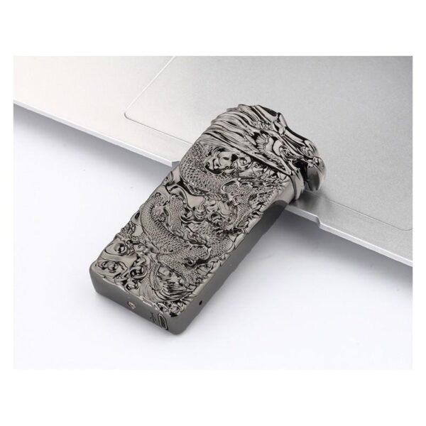 25420 - Плазменная электроимпульсная USB-зажигалка Dragon Fire: цинковый сплав с PVD-напылением