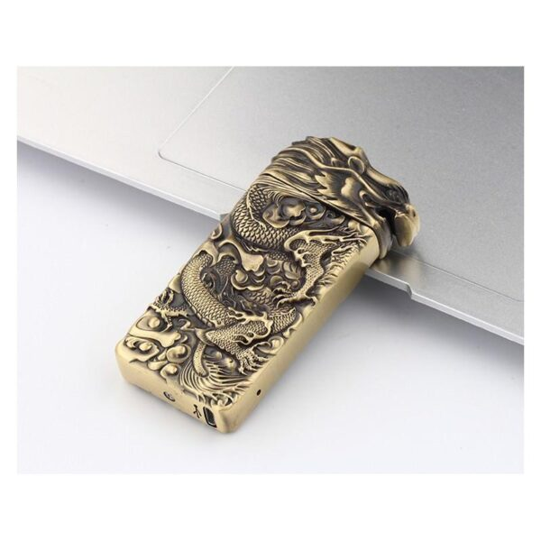 25425 - Плазменная электроимпульсная USB-зажигалка Dragon Fire: цинковый сплав с PVD-напылением