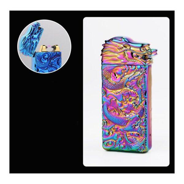 25428 - Плазменная электроимпульсная USB-зажигалка Dragon Fire: цинковый сплав с PVD-напылением