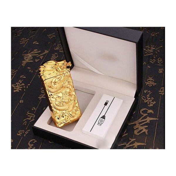 25437 - Плазменная электроимпульсная USB-зажигалка Dragon Fire: цинковый сплав с PVD-напылением