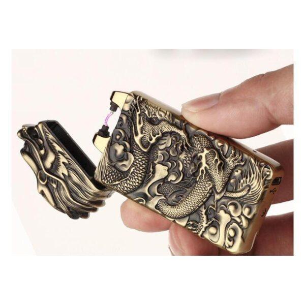 25439 - Плазменная электроимпульсная USB-зажигалка Dragon Fire: цинковый сплав с PVD-напылением