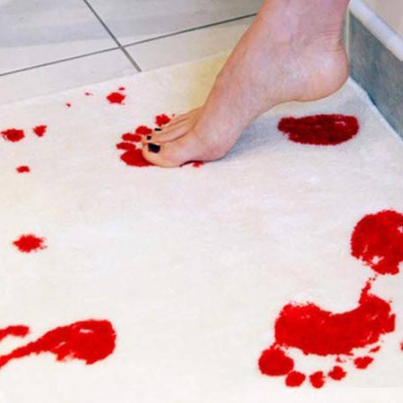 25519 - Коврик для ванной с «кровавыми» следами: для любителей ужасов, розыгрышей, отпугивания нежеланных гостей