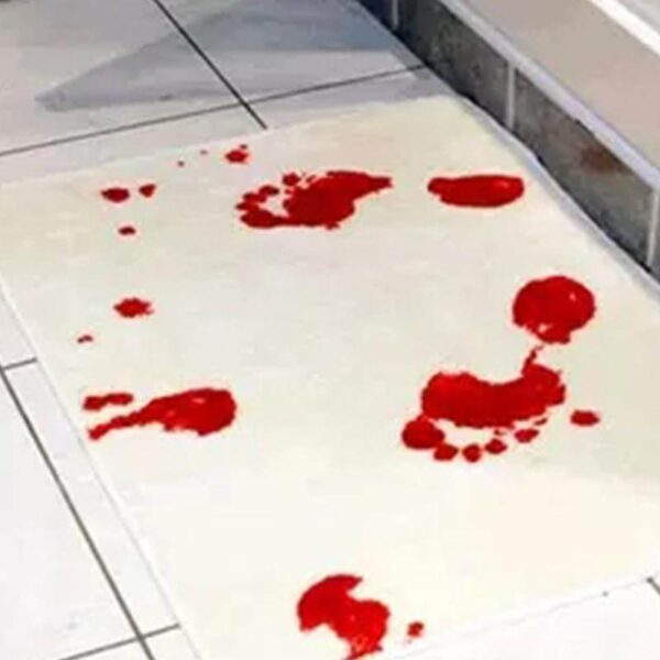 25524 - Коврик для ванной с «кровавыми» следами: для любителей ужасов, розыгрышей, отпугивания нежеланных гостей