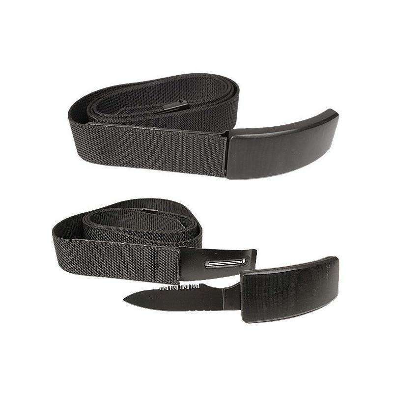 Нож-ремень для скрытого ношения, клинок 60 мм, полусеррейтор, нержавеющая сталь, черный