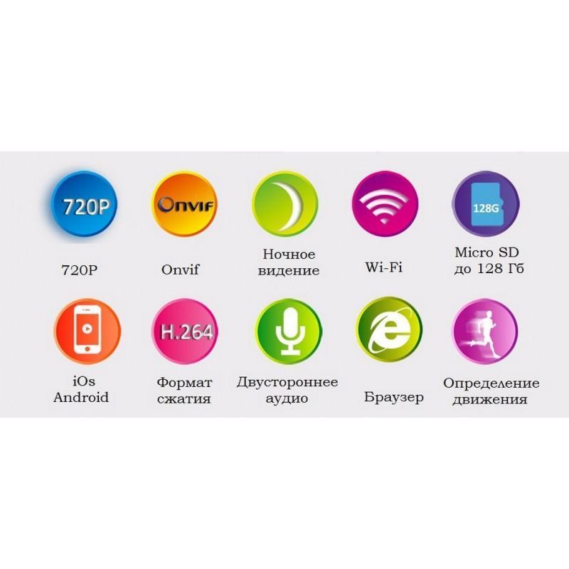 Поворотная IP-камера Sricam SP012 – 720Р, Wi-Fi, до 12 м в темноте, ONVIF, обнаружение движения, PTZ, двустороннее аудио 202887