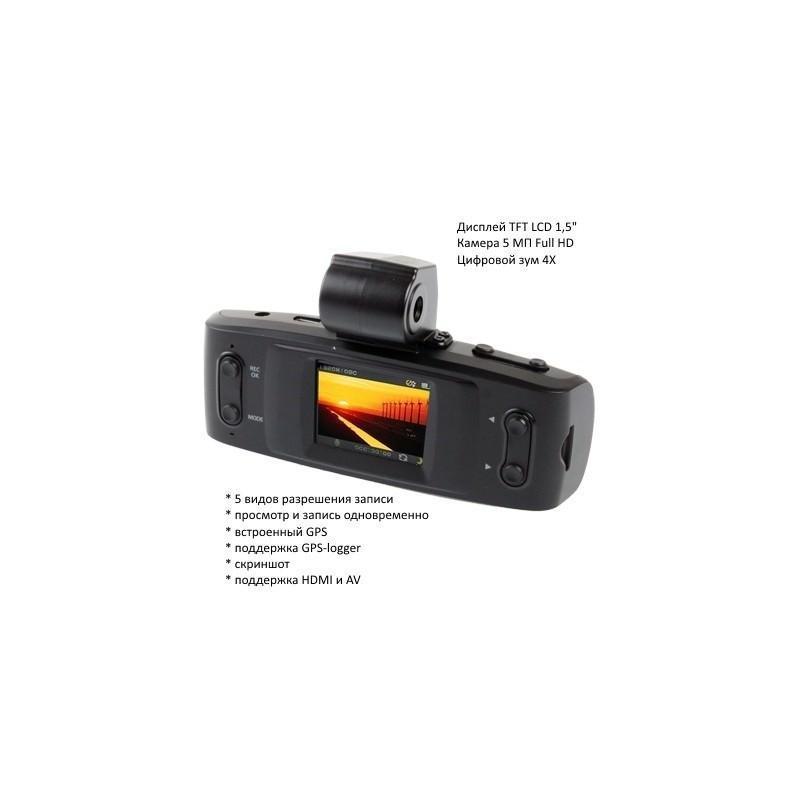 Автомобильный видеорегистратор, обзор 120°, Full HD, 1920×1080, 4xZoom, 1.5″ экран, G-сенсор, встроенный GPS, G-logger, HDMI, AV 185551