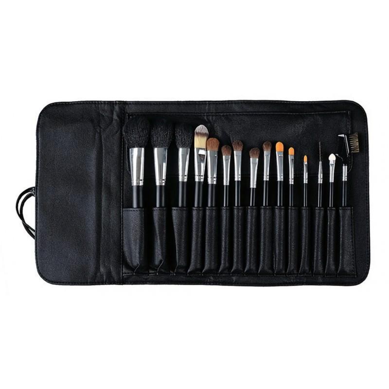 Набор кистей для макияжа Factory Outlet – 15 предметов + чехол 203803