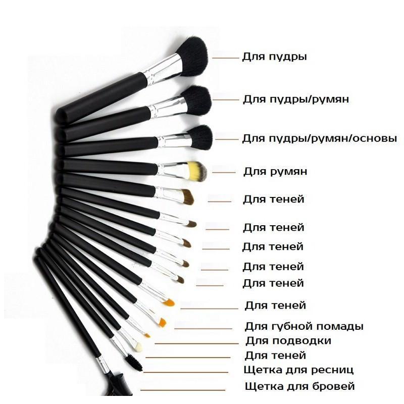 Набор кистей для макияжа Factory Outlet – 15 предметов + чехол 203806