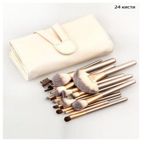 26746 - Профессиональный набор кистей для макияжа Champagne - 12 / 18 / 24 предмета + чехол