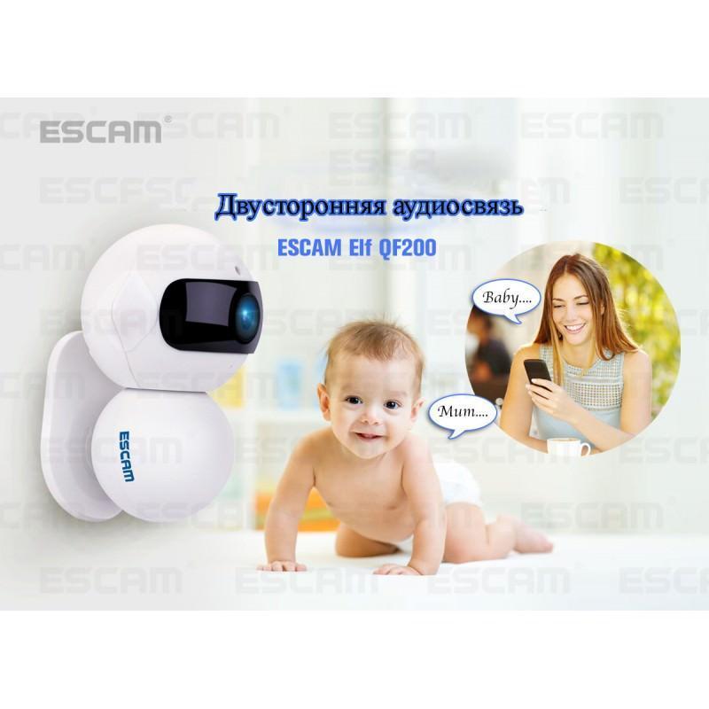 IP камера ESCAM Elf QF200: 960Р, ночное видение, датчик движения, оповещения на смартфон, точка доступа Wi-Fi, Micro SD 64 Гб 204090