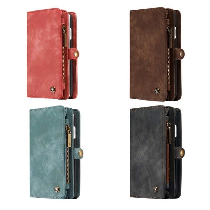 Многофункциональный кожаный чехол-бумажник CaseMe для iPhone 7 с магнитным держателем - Красный