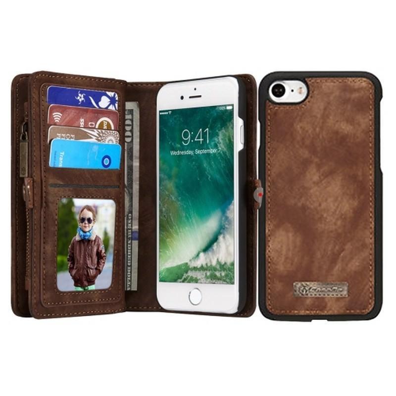 Многофункциональный кожаный чехол-бумажник CaseMe для iPhone 7 с магнитным держателем 204242