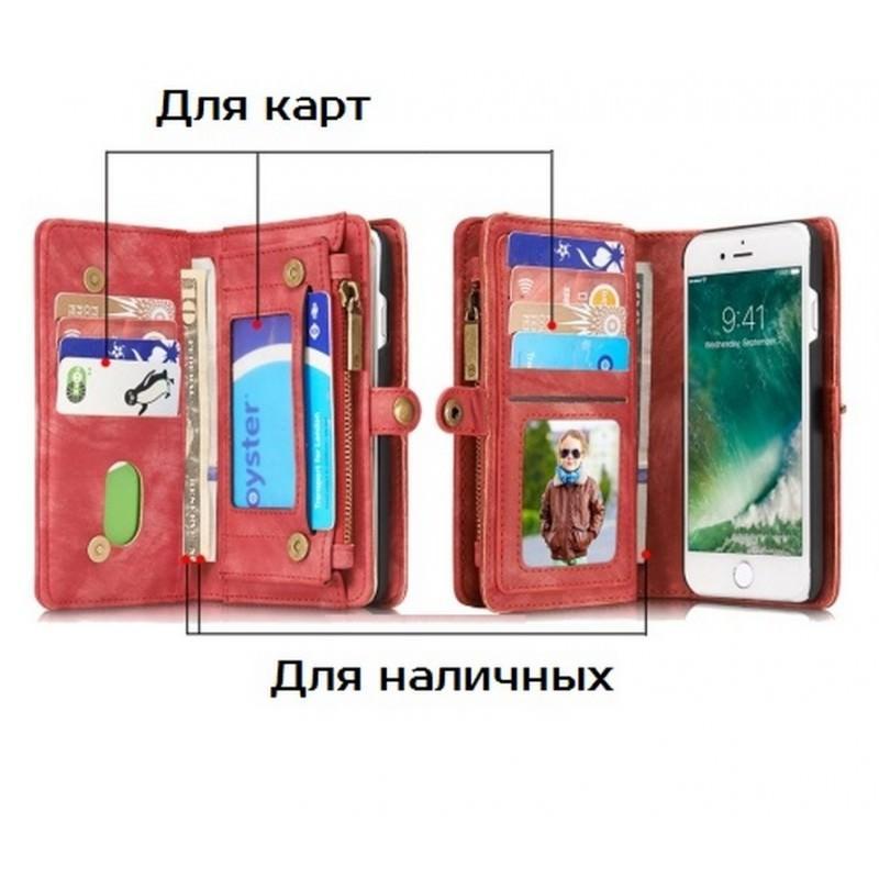 Многофункциональный кожаный чехол-бумажник CaseMe для iPhone 7 с магнитным держателем 204245