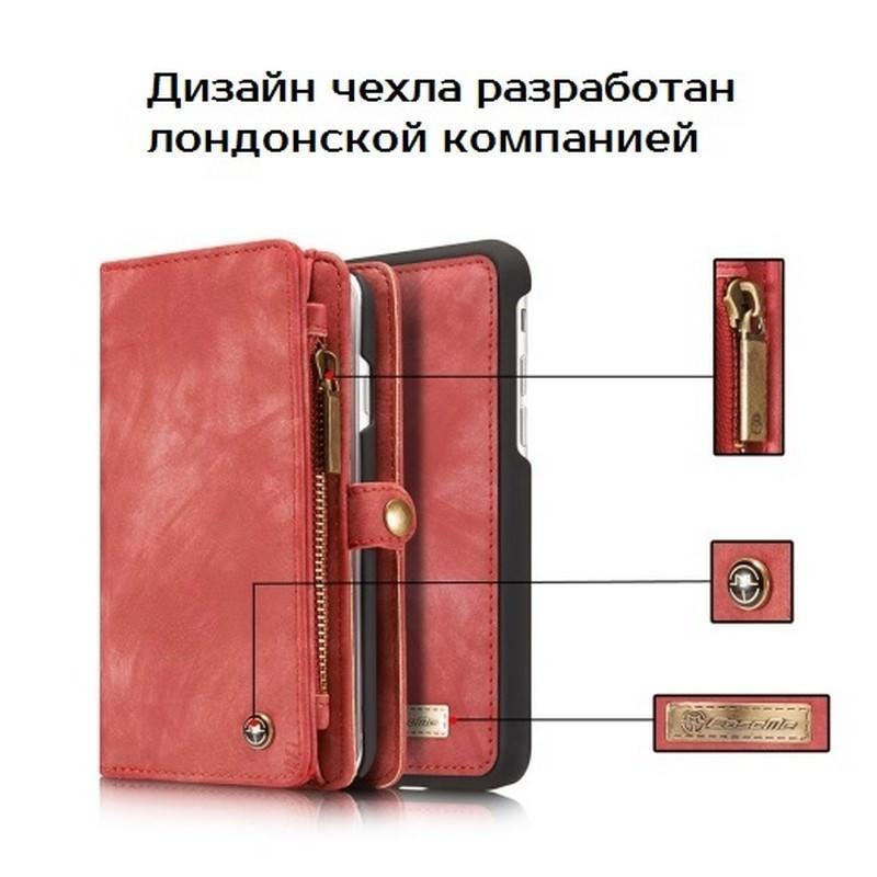 Многофункциональный кожаный чехол-бумажник CaseMe для iPhone 7 с магнитным держателем 204249