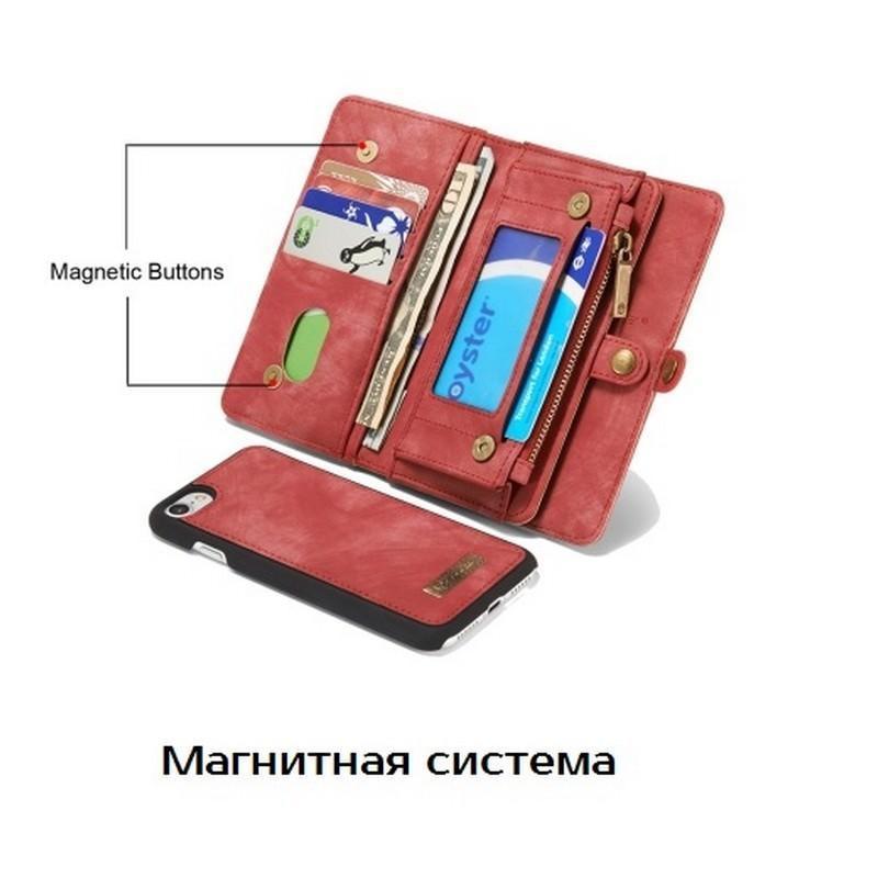 Многофункциональный кожаный чехол-бумажник CaseMe для iPhone 7 с магнитным держателем 204250