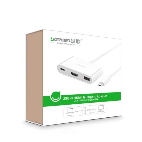 27854 - Переходник UGreen: USB Type-C к USB 3.0 + HDMI/ VGA хаб + адаптер питания для устройств с USB Type-C выходом
