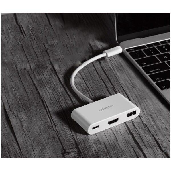27856 - Переходник UGreen: USB Type-C к USB 3.0 + HDMI/ VGA хаб + адаптер питания для устройств с USB Type-C выходом