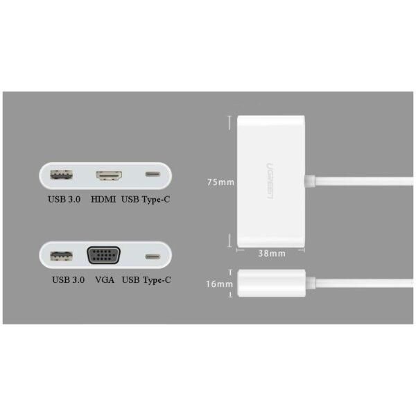 27859 - Переходник UGreen: USB Type-C к USB 3.0 + HDMI/ VGA хаб + адаптер питания для устройств с USB Type-C выходом