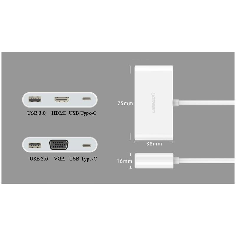 Переходник UGreen: USB Type-C к USB 3.0 + HDMI/ VGA хаб + адаптер питания для устройств с USB Type-C выходом 204820