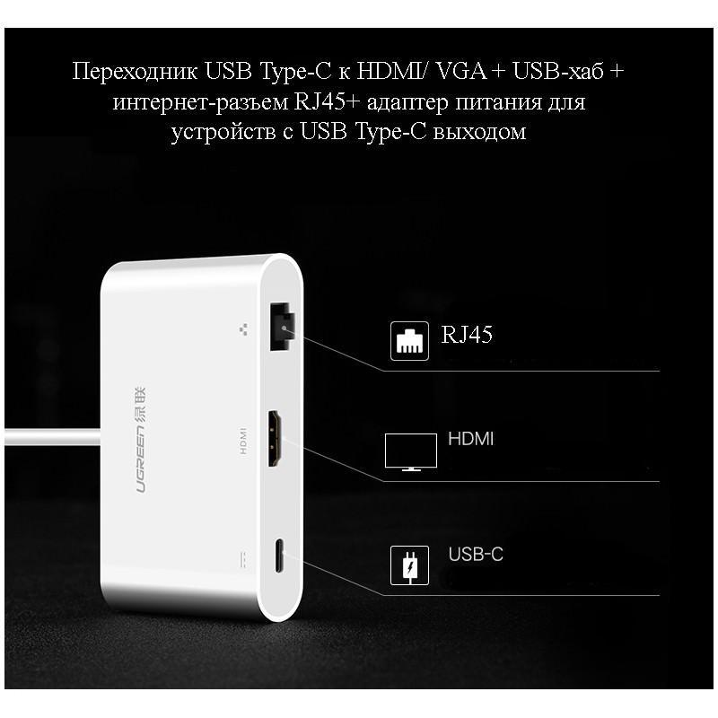 Переходник USB Type-C к HDMI/ VGA + USB-хаб + интернет-разъем RJ45+ адаптер питания для устройств с USB Type-C выходом