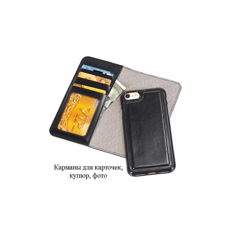 Кожаный чехол-кошелек для iPhone 7 Plus со съемной крышкой из термопластичного полиуретана - Черный