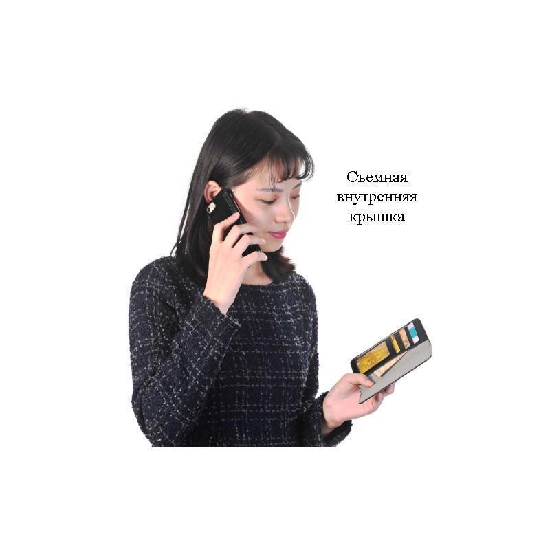 Кожаный чехол-кошелек для iPhone 7 Plus со съемной крышкой из термопластичного полиуретана 204971