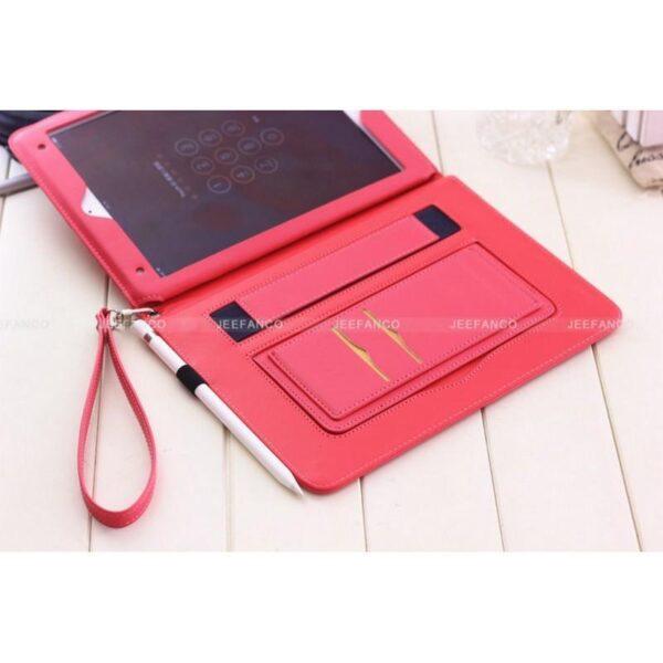28176 - Чехол-книжка Jeefanco для iPad AIR 2 - натуральная кожа, карманы для карт, ручка, держатель