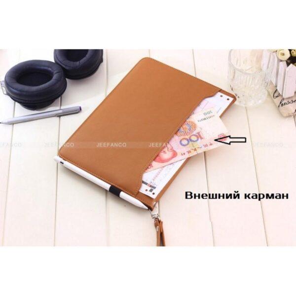 28177 - Чехол-книжка Jeefanco для iPad AIR 2 - натуральная кожа, карманы для карт, ручка, держатель