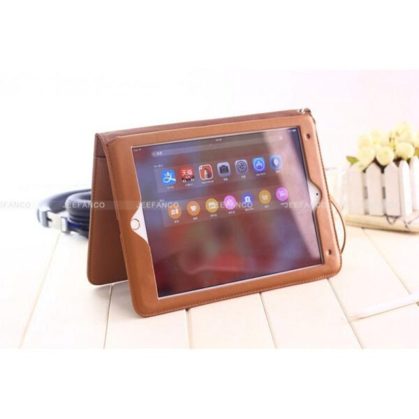 28178 - Чехол-книжка Jeefanco для iPad AIR 2 - натуральная кожа, карманы для карт, ручка, держатель