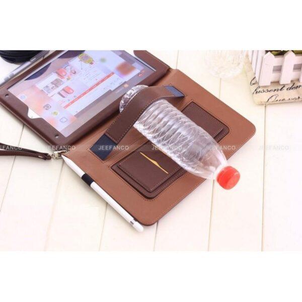 28179 - Чехол-книжка Jeefanco для iPad AIR 2 - натуральная кожа, карманы для карт, ручка, держатель