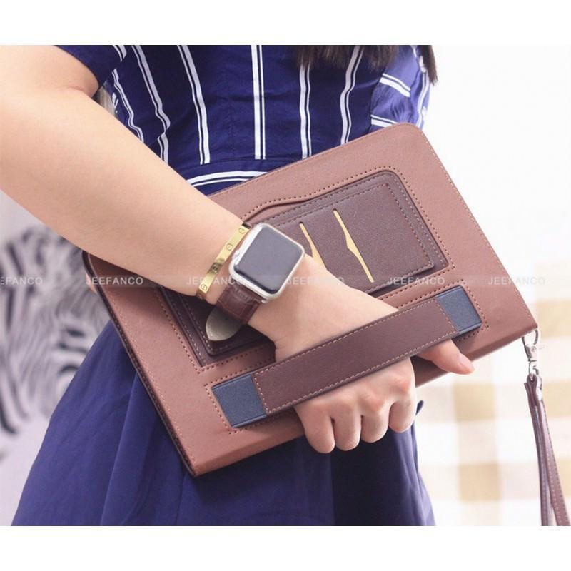 28180 - Чехол-книжка Jeefanco для iPad AIR 2 - натуральная кожа, карманы для карт, ручка, держатель
