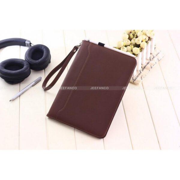 28181 - Чехол-книжка Jeefanco для iPad AIR 2 - натуральная кожа, карманы для карт, ручка, держатель