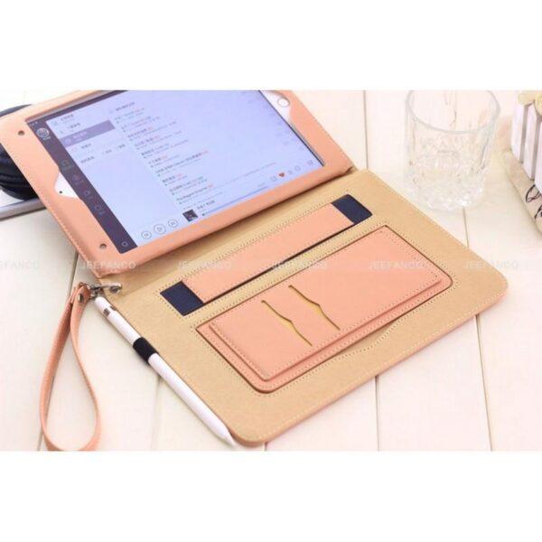 28185 - Чехол-книжка Jeefanco для iPad AIR 2 - натуральная кожа, карманы для карт, ручка, держатель