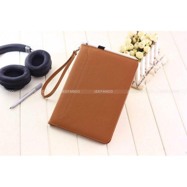 28186 - Чехол-книжка Jeefanco для iPad AIR 2 - натуральная кожа, карманы для карт, ручка, держатель