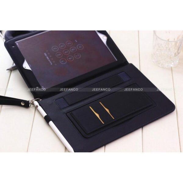 28187 - Чехол-книжка Jeefanco для iPad AIR 2 - натуральная кожа, карманы для карт, ручка, держатель