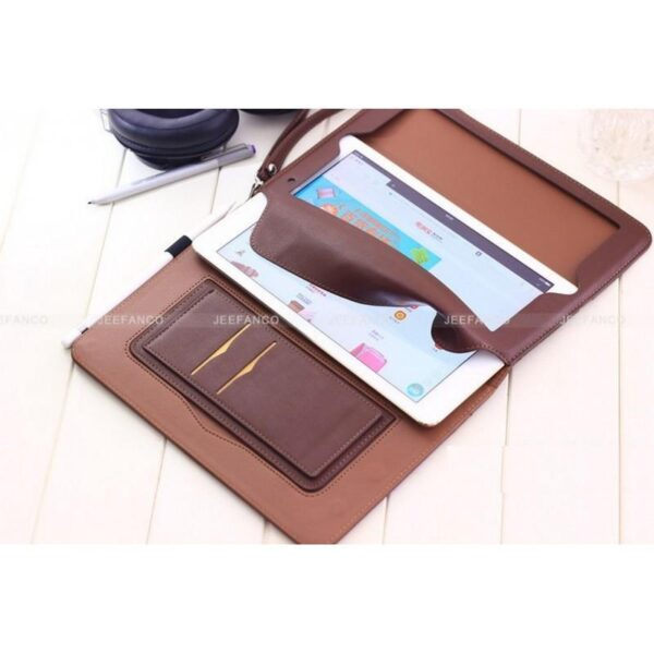 28188 - Чехол-книжка Jeefanco для iPad AIR 2 - натуральная кожа, карманы для карт, ручка, держатель