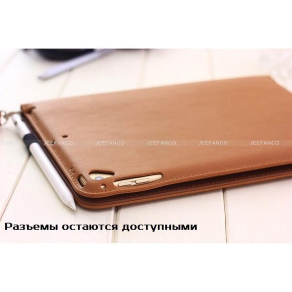 28189 - Чехол-книжка Jeefanco для iPad AIR 2 - натуральная кожа, карманы для карт, ручка, держатель