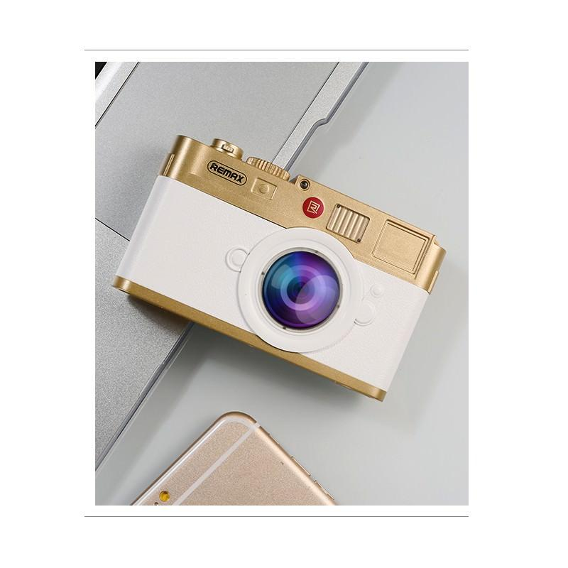 Power Bank Remax - Ретро-фотоаппарат: 10000 мАч, 2 USB-порта - Белый