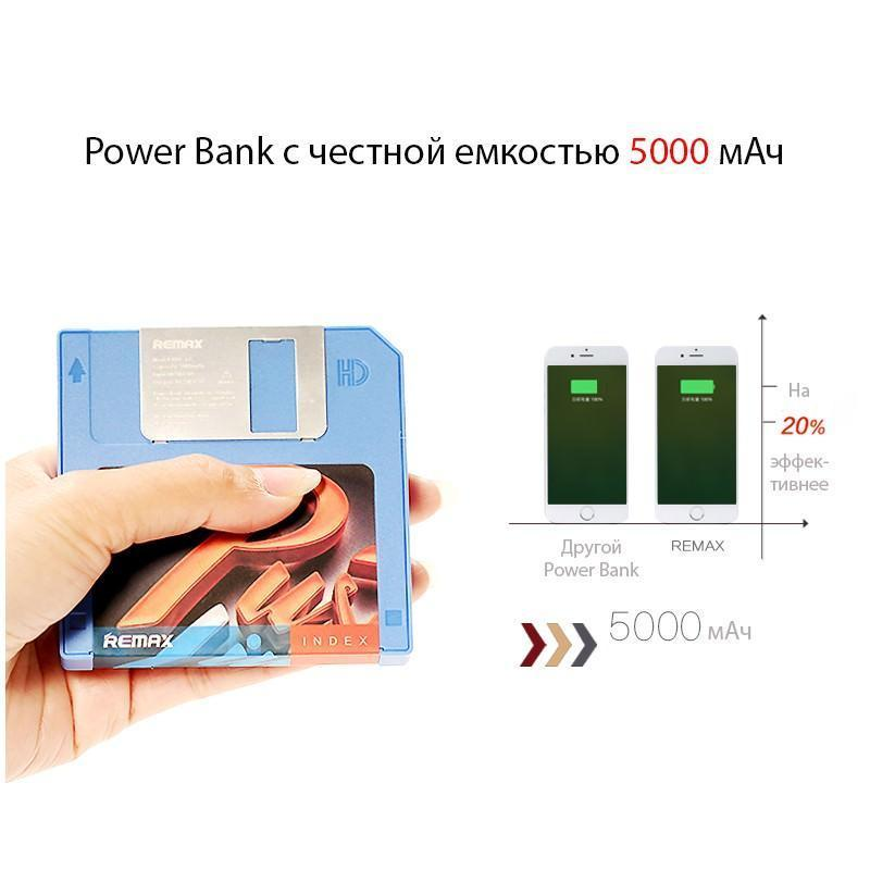 Power Bank Remax в стиле ретро – Дискета: 5000 мАч, USB-порт 205219