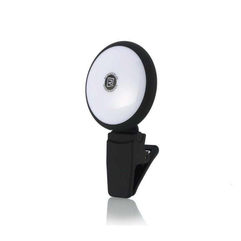 Внешняя подсветка/ мини-прожектор для смартфона Remax Selfie Spot Light: 8 светодиодов, 9 режимов работы 205296