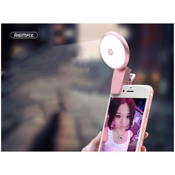 28402 - Внешняя подсветка/ мини-прожектор для смартфона Remax Selfie Spot Light: 8 светодиодов, 9 режимов работы