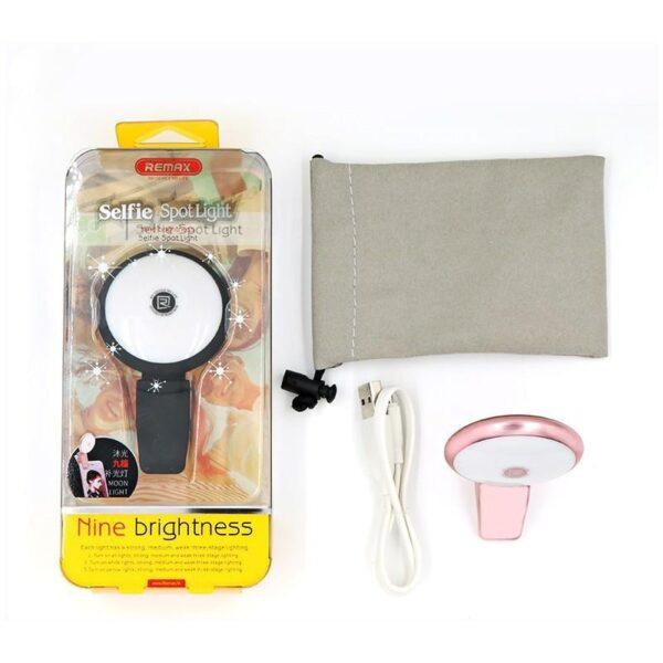 28404 - Внешняя подсветка/ мини-прожектор для смартфона Remax Selfie Spot Light: 8 светодиодов, 9 режимов работы