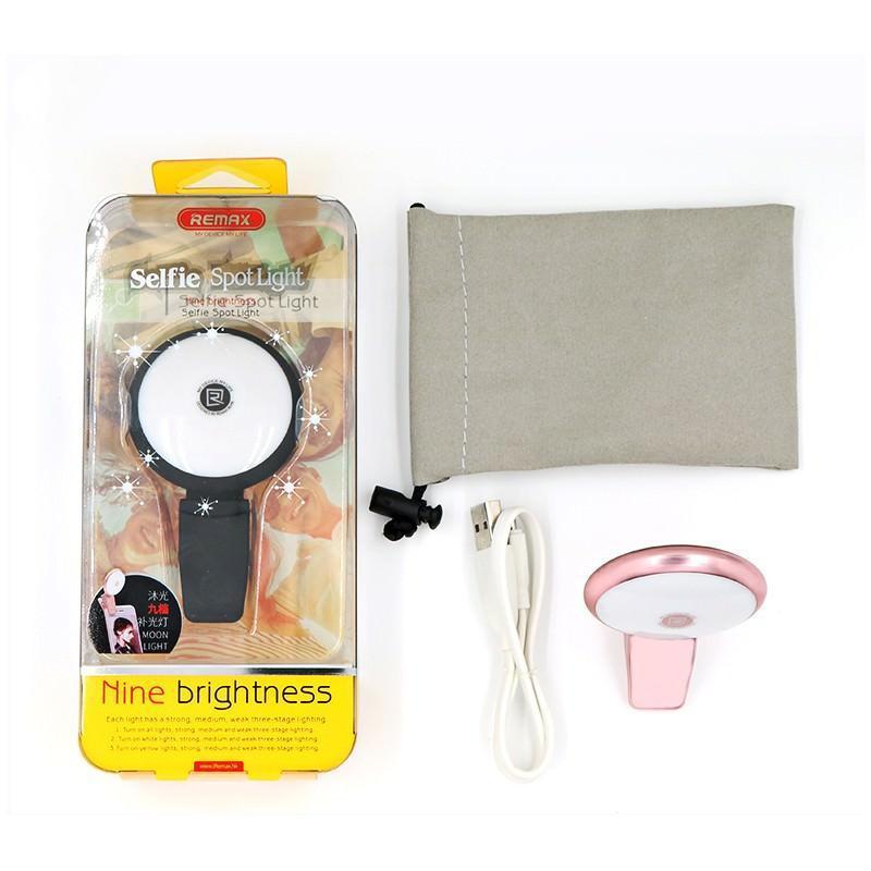 Внешняя подсветка/ мини-прожектор для смартфона Remax Selfie Spot Light: 8 светодиодов, 9 режимов работы 205308