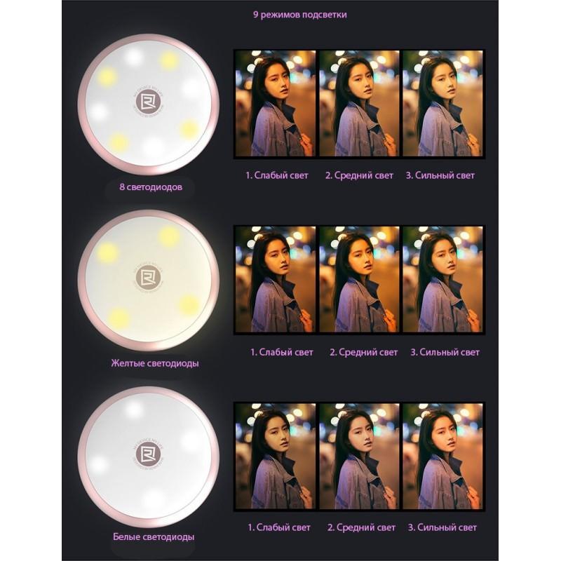 Внешняя подсветка/ мини-прожектор для смартфона Remax Selfie Spot Light: 8 светодиодов, 9 режимов работы 205311