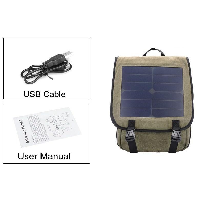 Прочный рюкзак с монокристаллической солнечной панелью 10 Вт для ноутбука, планшета, телефона (22% эффективность, выход 6V 2A) 185794
