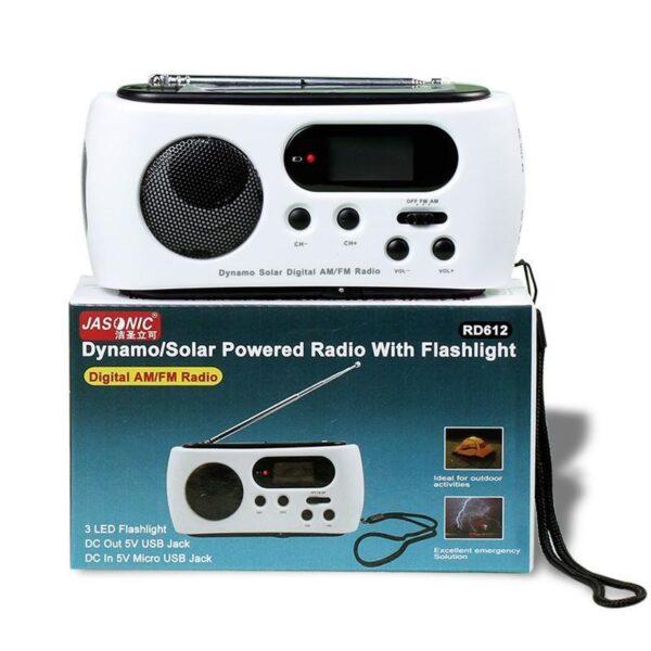 28661 - Радиоприемник-зарядное Road 612 с динамо-машиной и солнечной батареей + фонарик : 3 способа питания