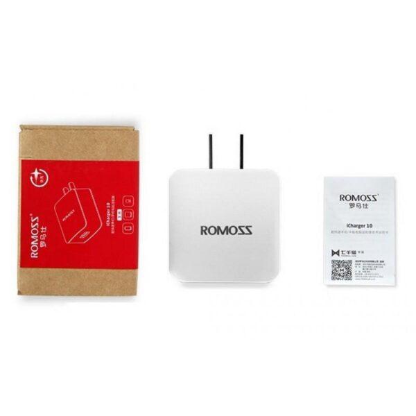 28718 - Адаптер питания Romoss AC10 с поддержкой технологии быстрой зарядки QC2.0 - 5V 2.1A, 9V 1.5A, 12V 1.2A