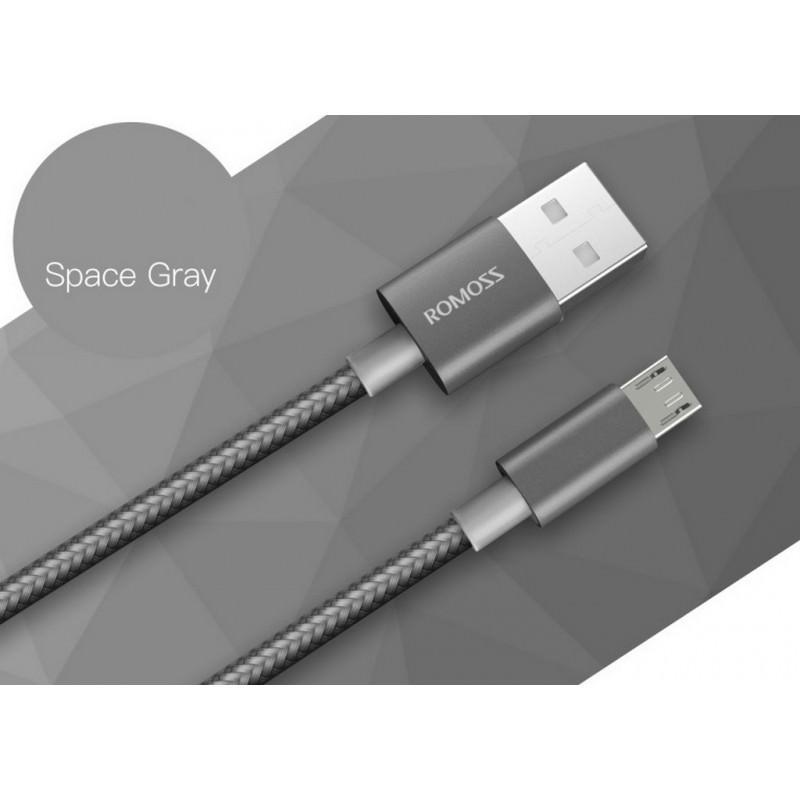 Зарядный кабель Romoss CB05N с интерфейсом USB / Micro USB - Темное серебро