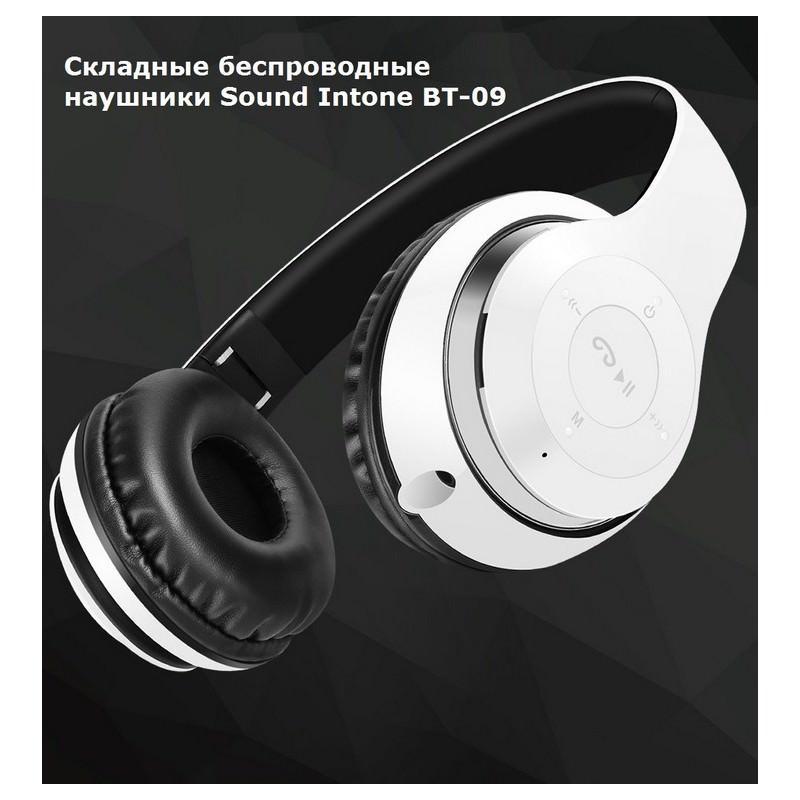 28992 - Складные беспроводные наушники Sound Intone BT-09 - Bluetooth 4.0, 3.5 мм аудио, Micro SD, FM-радио, до 8 часов работы