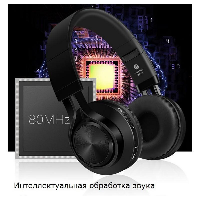 Складные наушники Sound Intone BT-06 - Bluetooth 4.0, 3.5 мм аудио, Micro SD, FM-радио, шумоподавление, Hi-Fi звук - Черный